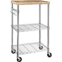 Amazonベーシック レンジ台 食器棚 キッチンボード 木/クロム製