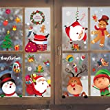 Christmas Window Clings 8 Sheets Christmas Window Decals Stickers Cute Christmas Window Decorations Xmas Santa Snowflake Wind