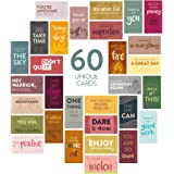 DiverseBee 60 Pack Assorted Motivational Cards - Inspirational and Kindness Mini Note Cards, Gratitude Encouragement Card Set