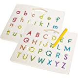 Hautton Magnetic Letters Board, 2 in 1 Alphabet Letter Tracing Board Educational Toy A to Z and a to z Read Learn Writing Dra