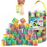 Liberty Imports 72 Pcs Mini Emoji Smiley Face Rainbow Springs in Storage Bucket - Bulk Set of Assorted Rainbow Magic Coil Str