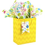 Hallmark Medium Gift Bag with Tissue Paper (Yellow Chevrons, 9.6 by 7.7 by 4.3 Inches)