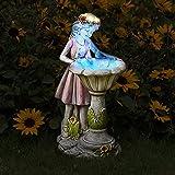 Voveexy Fairy Garden Statue, Solar Garden Angel Figurine Outdoor Decoration Waterproof Resin Garden Sculpture for Patio Yard