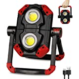 LED Work Light Rechargeable, 2 COB 2500LM Folding Portable Flood Light with Magnetic Base and 360° Rotation Stand, Waterproof