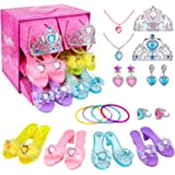 Teuevayl Girls Princess Dress Up Shoes and Jewelry Boutique, Princess Role Play Shoes Collection Set with 4 Pairs of Shoes &