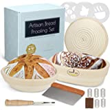 Home Baking Art Banneton Bread Proofing Basket Set, Artisan Sourdough Proofing Kit with 3 Baskets Oval and 2 Round with Linen