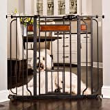 Carlson Home Design Extra Tall Walk Thru Pet Gate with Small Pet Door, Includes Décor Hardwood, 4-Inch Extension Kit, 4-Inch