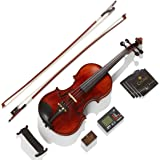 Mendini 4/4 MV500+92D Flamed 1-Piece Back Solid Wood Violin with Case, Tuner, Shoulder Rest, Bow, Rosin, Bridge and Strings -