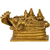 Purpledip Rare Collection Brass Idol Lord Vishnu Trimurti with Shiva & Brahma: AnantashayiAnandShayan Sleeping Vishnu-Lakshm