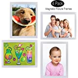 FO&OSOBEIT Magnetic or Sticky Two-in-one 4x6 Picture Frames 4 Pack Display Frames Picture Photo Frame for Wall Decor Pictures
