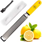 BelleGuppy Lemon Zester & Cheese Grater Stainless S Antibacterial Cover Blade, Ergonomic Non-Slip Silicone Handle Professiona