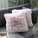 Uhomy 2 Packs Home Decorative Luxury Series Super Soft Plush Faux Fur Throw Pillow Cover Cushion Case for Sofa/Bed 18x18 Inch