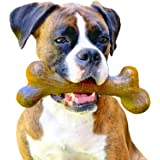 Pet Qwerks Big Foot BarkBone Peanut Butter Flavor - Nylon Chew Toy for Aggressive Chewers, Tough Extreme Power Chewer Bone  