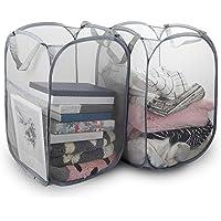 Ouliyoo ランドリーバスケット 2個セット 洗濯カゴ 折り畳み式 ごみ箱 ランドリーかご 洗濯ボックス 取っ手付き…
