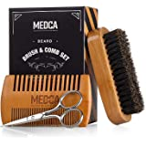 Wooden Beard and Comb Set for Men - Perfect for Beards Head Hair and Mustaches Men's Grooming Kit for Styling, Applying Beard