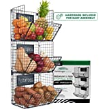 Premium 3-Tier Wall Mounted Hanging Wire Baskets with Chalkboards - High-Grade Black Iron - Fruit or Produce Storage - Bathro