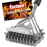 Grill Brush and Scraper Bristle Free – Safe BBQ Brush for Grill Best Rated – 18'' Stainless Grill Grate Cleaner - Safe Grill