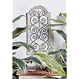 Small, Vintage Style Distressed White Wood & Metal Wall Decor Panel, Decorative Gate Wall Decor, Antique Wood Decor Decorativ