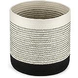 Kohree ランドリーバスケット 鉢カバー 綿ロープ 17L容量 折り畳み式 洗濯かご 28×28cm 収納かご 小物…