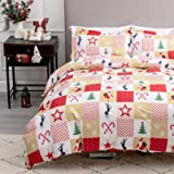 """Bedsure Christmas Duvet Cover Set, 3 Pieces Queen Size Comforter Cover Set 90""""x90"""", Super Soft New Year Holiday Bedding Set,"""