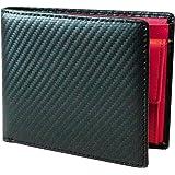 TLAGE[Amazon限定ブランド] 財布 メンズ 二つ折り カーボンレザー 牛革 小銭入れ カード6枚 オールインワン (Red)