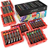 ARTEZA Gouache Paint, Set of 60 Colors/Tubes (12 Ml/0.4 Us Fl Oz) Opaque Paints, Ideal for Canvas Painting, Watercolor Paper,