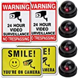 Fake Security Camera No trespassing sign and surveillance Camera Includes Stickers And Screws To Hang Up The Signs For Buildi