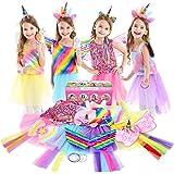 Jeowoqao Girls Princess Dress up Trunk Set 19 Pcs, Rainbow Unicorn Costume Set, Toddler Girls Dress up Clothes Pretend Play C