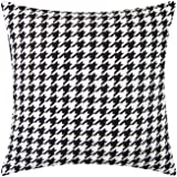 NATURALSHOW Houndstooth Throw Pillow Cases Covers for Bed Couch Sofa Modern Minimalist Black and White Thousands of Birds Pil