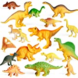 Coogam 18PCS Realistic Dinosaur Toy Play Set Assorted Plastic Small Dino Figures Cake Toppers Birthday Party Favors Figurines