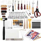 194 Pieces Leather Working Tools, Dorhui Leather Craft Stamping Tools with Cutting Mat Snaps and Rivets Kit, Stitching Groove