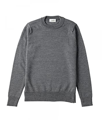 Middle Gauge Wool Silk Crewneck Sweater 1113-248-3563: Mid Grey