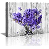 "Purple Lavender Wall Decor for Bedroom Rustic Home Decor Canvas Wall Art -12""x16"" Purple Lavender Flowers on Vintage Wood Bac"