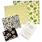 Beeswax Food Wraps by Ozzie Journey | Reusable, Eco Friendly Alternative | 4 Pack | 100% Cotton and All Natural...