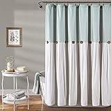 "Lush Decor Linen Button Shower Curtain, 72"" x 72"", Blue & White"