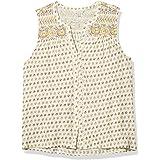 Lucky Brand Women's Sleeveless V Neck Button Up Border Print Top
