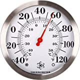 "MIKSUS 12"" Stainless Steel Premium Wall Thermometer Large Indoor Outdoor for Patio, Garden, Pool, Kitchen, Wall and Room Deco"
