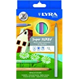LYRA Super Ferby Lacquered Triangular Giant Colored Pencils, 6.25 Millimeter Lead Core, Set of 12 Pencils, Assorted Metallic