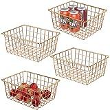 Metal Wire Storage Basket iSPECLE Freezer Baskets Storage Organizer Bins with Handles for Kitchen, Pantry, Closet, Laundry Ro