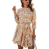 Angashion Women's Dresses Casual Leopard Print 3/4 Sleeve Skater Mini Swing Dress with Belt