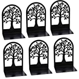 Tree of Life Decorative Bookends Book Ends for Shelves, 3Pair Non Skid Metal Bookend for Heavy Books, Book Divider Decorative