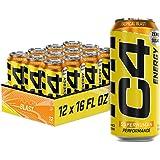 C4 Energy Carbonated Zero Sugar Energy Drink, Pre Workout Drink + Beta Alanine, Sparkling Tropical Blast, 16 Fl Oz (Pack of 1