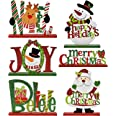 Gift Boutique 6 Christmas Table Decorations for Dinner Party Coffee Table Snowman Santa Reindeer Noel Joy Believe Merry Chris