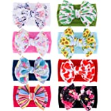 inSowni 8 Pack Big Sunflower Flower Bow Super Stretchy Nylon Headbands Turban Headwraps Hair Accessories for Baby Girls Toddl
