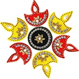 Multicolor Acrylic Diya Rangoli for Home Office Diwali Indian Festivals Decoration Traditional Studded with Faux Stones Floor