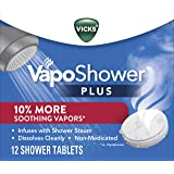 Vicks VapoShower PLUS, Shower Bomb Tablets, Soothing Vicks Vapors Steam Aromatherapy with Eucalyptus and Menthol, Contains Es