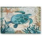 """Vandarllin Coastal Blue Sea Turtle Nautical Map Doormat Welcome Mats Rugs Carpet Outdoor/Indoor for Home/Office/Bedroom, 18""""x"""