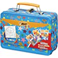 BIC Kids Colouring Activity Set Lunch Box Case- 12 Oil Pastels/12 Magic Felt Pens/6 Glitter Glue Tubes/1 Colouring Poster