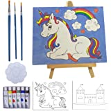 Kids Paint Set and Paint Easel – 14-Piece Acrylic Painting Kit, 6 Non Toxic Washable Paints, 1 Wood Easel, 2 Pre-Stenciled Ca