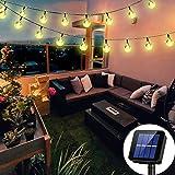 Irecey Solar String Lights Globe 38 Feet 66 Crystal Balls Waterproof LED Fairy Lights 8 Modes Outdoor Starry Lights Solar Pow
